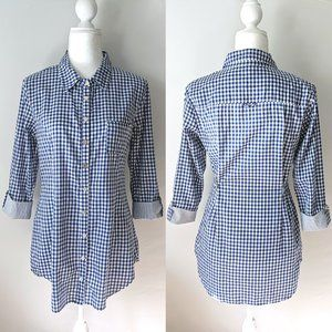 Splendid Gingham Button Down Tab Sleeve Tunic Top